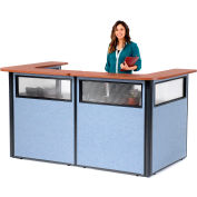 "Interion® U-Shaped Reception Station w/Window 88"" W x 44""D x 44""H Cherry Counter Blue Panel"