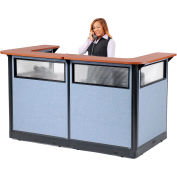 """Interion® U-Shaped Reception Station w/Window and Raceway 88""""W x 44""""D x 46""""H Cherry Counter"""