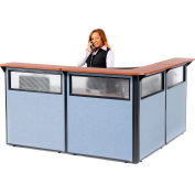 """Interion® L-Shaped Reception Station w/Window 80""""W x 80""""D x 44""""H Cherry Counter Blue Panel"""