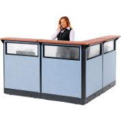 "Interion® L-Shaped Reception Station w/Window & Raceway 80""W x 80""D x 46""H Cherry Counter Blue"