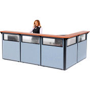"""Interion® L-Shaped Reception Station w/Window 116""""W x 80""""D x 44""""H Cherry Counter Blue Panel"""