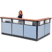 "Interion® L-Shaped Reception Station w/Window & Raceway 116""W x 80""D x 46""H Cherry Counter Blue"
