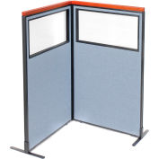 "Interion® Deluxe Freestanding 2-Panel Corner Divider w/Partial Window 36-1/4""W x 61-1/2""H Blue"