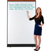 "Interion® Deluxe Office Partition Panel w/Whiteboard and Pass-Thru Cable 48-1/4""W x 77-1/2""H"