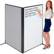 "Interion® Freestanding 2-Panel Corner Room Divider with Whiteboard, 36-1/4""W x 60""H, Gray"