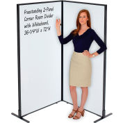 "Interion® Freestanding 2-Panel Corner Room Divider with Whiteboard, 36-1/4""W x 72""H"