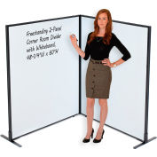 """Interion® Freestanding 2-Panel Corner Room Divider with Whiteboard, 48-1/4""""W x 60""""H"""