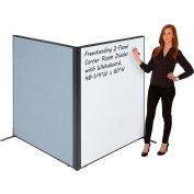 "Interion® Freestanding 2-Panel Corner Room Divider with Whiteboard, 48-1/4""W x 60""H, Blue"