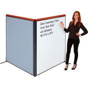 "Interion® Deluxe Freestanding 2-Panel Corner Room Divider w/Whiteboard 48-1/4""W x 61-1/2""H Blue"