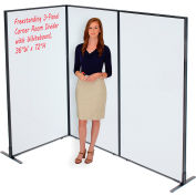 """Interion® Freestanding 3-Panel Corner Room Divider with Whiteboard, 36-1/4""""W x 72""""H"""