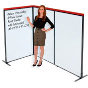 """Interion® Deluxe Freestanding 3-Panel Corner Room Divider with Whiteboard, 36-1/4""""W x 61-1/2""""H"""