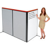 "Interion® Deluxe Freestanding 3-Panel Corner Room Divider w/Whiteboard 36-1/4""W x 61-1/2""H Gray"