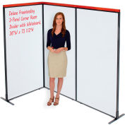 """Interion® Deluxe Freestanding 3-Panel Corner Room Divider with Whiteboard, 36-1/4""""W x 73-1/2""""H"""