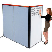 "Interion® Deluxe Freestanding 3-Panel Corner Room Divider w/Whiteboard 36-1/4""W x 73-1/2""H Blue"
