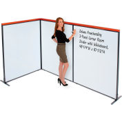 """Interion® Deluxe Freestanding 3-Panel Corner Room Divider with Whiteboard, 48-1/4""""W x 61-1/2""""H"""