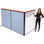 "Interion® Deluxe Freestanding 3-Panel Corner Room Divider w/Whiteboard 48-1/4""W x 61-1/2""H Blue"