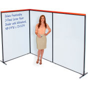"""Interion® Deluxe Freestanding 3-Panel Corner Room Divider with Whiteboard, 48-1/4""""W x 73-1/2""""H"""