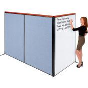 "Interion® Deluxe Freestanding 3-Panel Corner Room Divider w/Whiteboard 48-1/4""W x 73-1/2""H Blue"