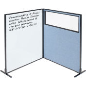 """Interion® 2-Panel Corner Room Divider with Whiteboard & Partial Window, 48-1/4""""W x 60""""H, Blue"""