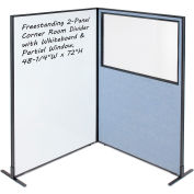 "Interion® 2-Panel Corner Room Divider with Whiteboard & Partial Window, 48-1/4""W x 72""H, Blue"