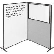 """Interion® 2-Panel Corner Room Divider with Whiteboard & Partial Window, 48-1/4""""W x 72""""H, Gray"""