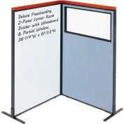 Interion® Deluxe Freestanding 2-Panel Corner w/Whiteboard & Partial Window 36-1/4Wx61-1/2H Blue