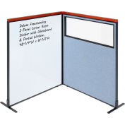Interion® Deluxe Freestanding 2-Panel Corner w/Whiteboard & Partial Window 48-1/4Wx61-1/2H Blue