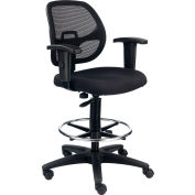 Interion® Mesh Back/Fabric Seat Drafting Stool, Black