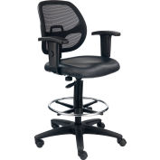 Interion® Drafting Stool - Vinyl - Black