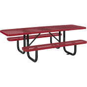 Global Industrial™ 8 ft. ADA Outdoor Steel Picnic Table, Expanded Metal, Red