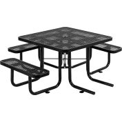 """Global Industrial™ 46"""" Wheelchair Accessible Square Outdoor Steel Picnic Table, Black"""