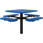 """46"""" Square In-Ground Mount Outdoor Steel Picnic Table - Expanded Metal - Blue"""
