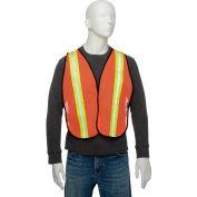 """Global Industrial Hi-Vis Safety Vest, 2"""" Lime/Reflective Strips, Polyester Mesh, Orange, One Size"""