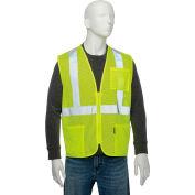 """Classe industrielle globale 2 Hi-Vis sécurité gilet, 2"""" bandes rétro-réfléchissantes, maille Polyester, citron vert, taille L"""