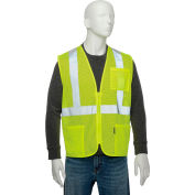 """Global Industrial Class 2 Hi-Vis Safety Vest, 2"""" Reflective Strips, Polyester Mesh, Lime, Size XL"""