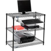 """Nexel™ 3-Shelf Black Wire Shelf Printer Stand with Keyboard Tray, 36""""W x 18""""D x 34""""H"""