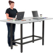 "Interion® Standing Height Table with Power - 72""L x 36""W x 42""H - Laminate - Gray"