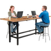 """Interion® Standing Height Table With Power & MDF Top, 96""""Lx36""""W, Natural"""