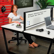 Interion® Magnetic Whiteboard Partition for Double Collaboration Desk