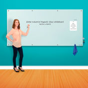 Global Industrial™ Magnetic Glass Whiteboard - 96 x 48 - White