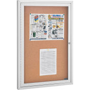 "Enclosed Bulletin Board - Cork - Aluminum Frame - 24"" x 36"" - 1 Door"