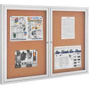 Babillard en liège clos, cadre en aluminium,48 po x36 po,2 portes