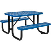 Global Industrial™ 4 ft. Rectangular Outdoor Steel Picnic Table, Expanded Metal, Blue