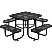 Global Industrial™ 3 ft. Square Outdoor Steel Picnic Table - Expanded Metal - Black