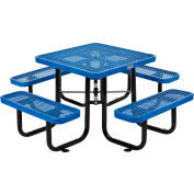 Global Industrial™ 3 ft. Square Outdoor Steel Picnic Table, Expanded Metal, Blue