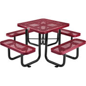 3 ft. Square Outdoor Steel Picnic Table - Expanded Metal - Red