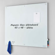 Global Industrial™ Magnetic Glass Whiteboard - 60 x 48 - White