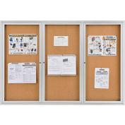 "Global Industrial™ Enclosed Cork Bulletin Board - 72""W x 48""H - 3 Door"