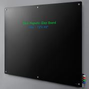 "Global Industrial™ Magnetic Glass Dry Erase Board - 72 x 48"" - Black"