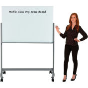 "Global Industrial™ Mobile Glass Board - 48""W x 36""H"